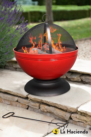 Feuerschale Globe mit Grill, rot emailliert