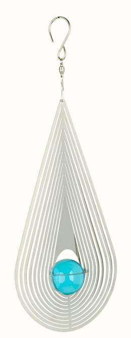Windspiel COSMO Träne mit blauer Kugel