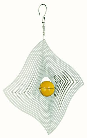 Windspiel COSMO Diamant-Welle mit gelber Kugel