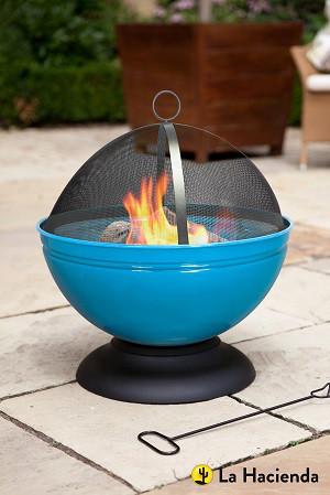 Vasque à feu Globe avec grille, bleu émaillé