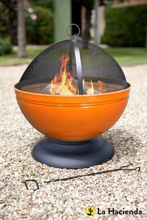 Vasque à feu Globe avec grille, orange émaillé
