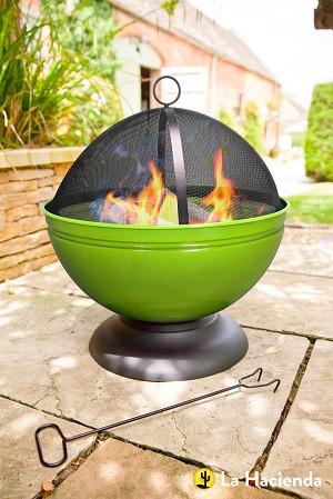 Feuerschale Globe mit Grill, lime-grün emailliert