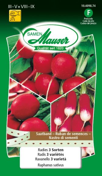 Radis 3 variétés Ruban de semences